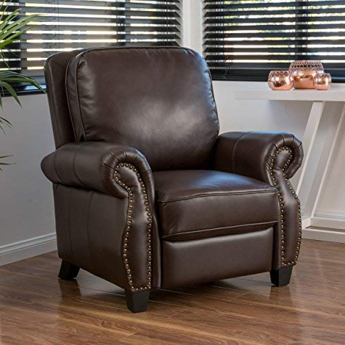 Christopher Knight Home Neville PU Push Back Recliner, Brown