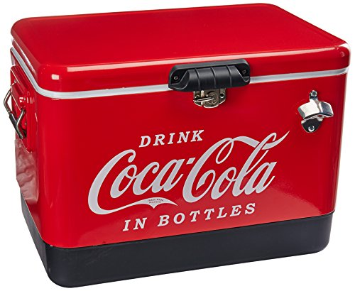 Koolatron Coca-Cola 85 Can Stainless Steel Ice Chest with Bottle Opener (54 Quarts/51 Liters)