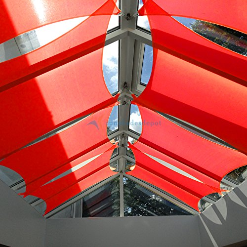 TANG Sunshades Depot 20' x 20' Sun Shade Sail Square 180 GSM HDPE Permeable Curved Edge Canopy Red Custom Commercial Grade Standard