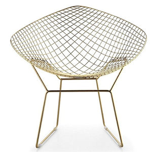 ApexStore Wire Mesh Bertoia Style Diamond Chair in Gold Finish