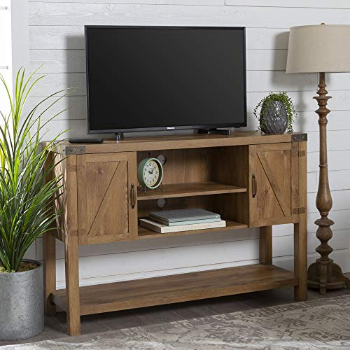 Walker Edison Furniture Company Rustic Farmhouse Wood Buffet Storage Cabinet Flat Screen Universal TV Console Living Room Shelves Entertainment Center, 52 Inch, Barnwood