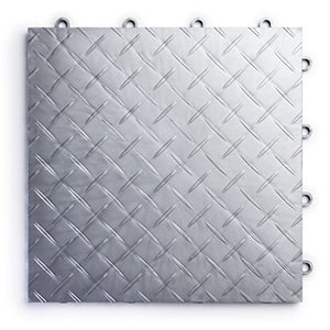 RaceDeck Diamond Plate Design, Durable Interlocking Modular Garage Flooring Tile (48 Pack), Alloy
