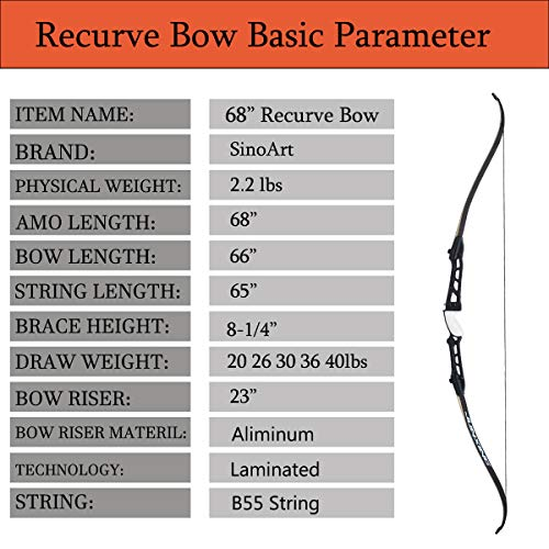 "SinoArt 68"" Metal Riser Takedown Recurve Bow Adult Archery Competition Athletic Bow Weights 20-36Lbs Right Handed Archery Kit (30Lbs, Black)"