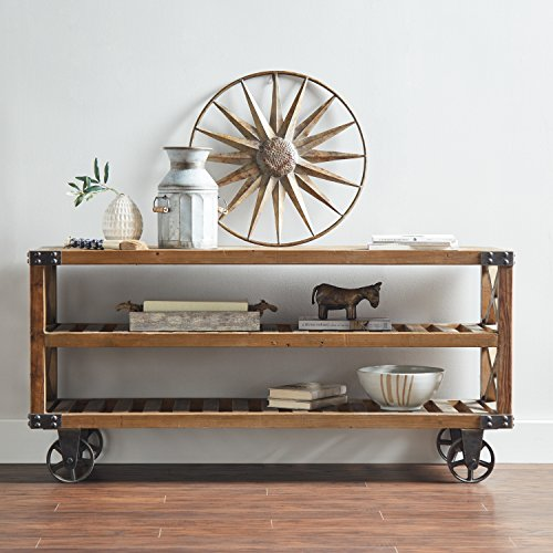 "Amazon Brand – Stone & Beam Factory Wheel Entertainment Console, 57.9""W, Natural"