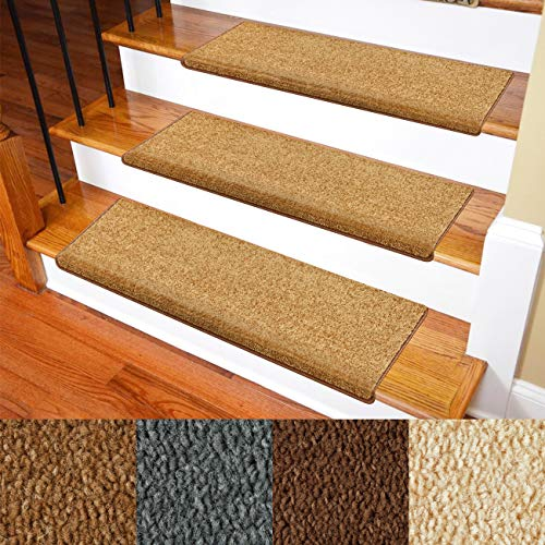 Carpet Stair Treads – Non-Slip Bullnose Carpet for Stairs – Indoor Stair Pads – Self-Adhesive & Easy Installation – Pet & Child Friendly – Skid Resistant & Washable – 14- Pack Brown 10