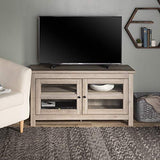 "WE Furniture Simple Wood Universal Stand for TV's up to 50"" Flat Screen Living Room Storage Entertainment Center, Grey Wash"
