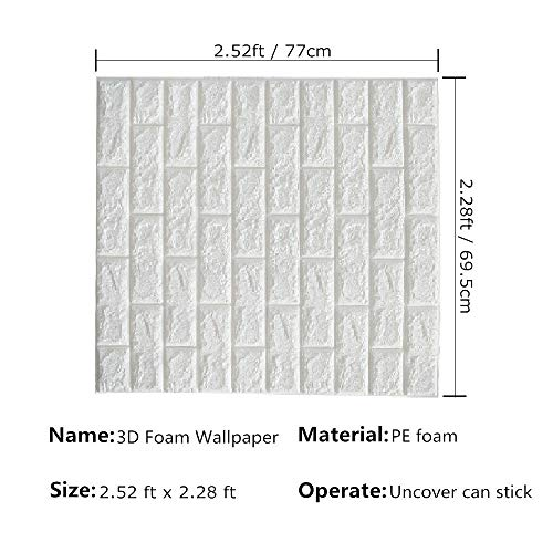 CHMING 20pcs 3D Brick Wall Stickers Self-adhesive Wallpaper Peel and Stick 3D Wall Panels for TV Walls/Sofa Background Wall Decor(20 Pack,White 115 sq feet)