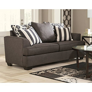 Signature Design by Ashley - Levon Classic Loveseat w/ 4 Accent Pillows, Charcoal Gray