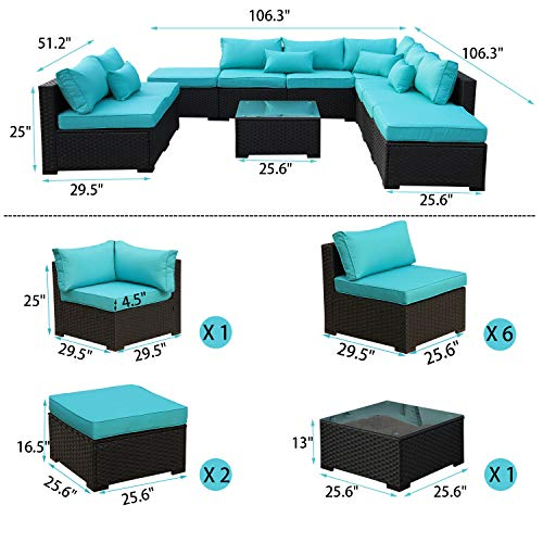 Rattaner 10 Piece Patio Sectional Furniture Set Outdoor PE Wicker Rattan Conversation Sofa with Turquopise Cushion