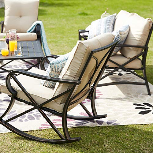 Patio Festival 5 Pieces Patio Conversation Set Wrought Iron Outdoor Furniture Deep Seating Metal Padded Cushion Sofa for Backyard Porch Poolside Balcony((Khaki)