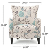 Christopher Knight Home Arabella Fabric Club Chair, White And Blue Floral