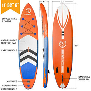 "SURFMASS Inflatable SUP 11' L x 6"" T x 32"" W Stand Up Paddle Board Stance iSUP with Adjustable Fiberglass Paddle, Dual Chamber Hand Pump, Wheeled Travel Backpack, Safety Ankle Leash, Fin (Orange)"