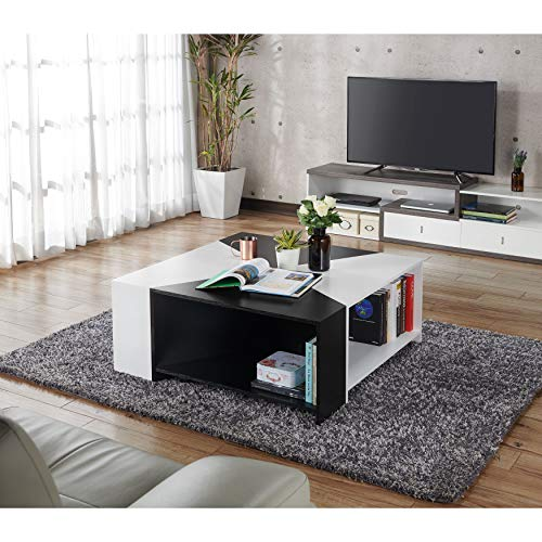 ioHOMES Melaina Modern Modular Square Coffee Table with Open Shelf Storage with 4 Interchangeable Pieces, 40