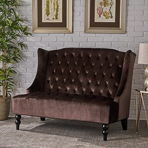 Leah Modern Glam Tufted Velvet Wingback Loveseat, Chocolate and Dark Brown