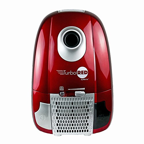 Atrix - AHC-1 Turbo Red Canister Vacuum - Portable Vac Cleaner w/ 6 Quart HEPA Filter & Variable Speed,red, silver, chrome, black
