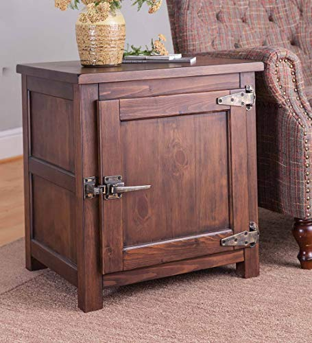 Plow & Hearth Vintage Style Portland Ice Box Wood Storage Side Table with Adjustable Interior Shelf, Replica Hardware and Lightly Distressed Walnut Finish, 22 L x 18 W x 23.5 H - Walnut Finish