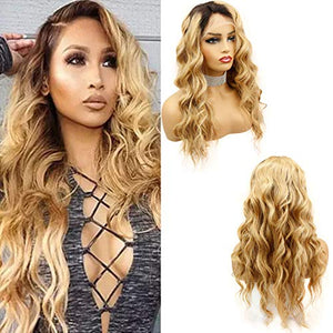 Rossy&Nancy #1B/27 Dark Roots Ombre Honey Blonde Brazilian Virgin Human Hair Wig with Baby Hair for Black Woman Glueless Full Lace Wigs Bleached Knots 130% Density