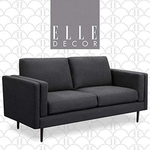 "Elle Decor Simone Living Room Sofa Couch, Mid-Century Modern Velvet Fabric Loveseat for Small Space, 73"", Charcoal"