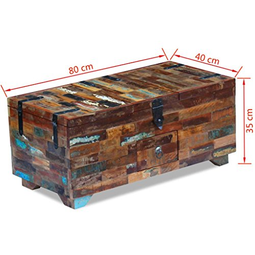 "Festnight Multifunctional 2-in-1 Coffee Table with 3 Storage Compartments and 1 Drawer Wooden Storage Cabinet Box Reclaimed Wood End Side Table 31.5"" x 15.7"" x 13.8"""