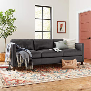 "Amazon Brand �Stone & Beam Andover Sofa Couch, 90""W, Driftwood Leather"