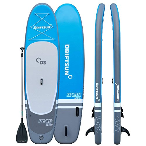 Driftsun Explorer Stand Up Paddleboard 10 ft ISUP with Travel Backpack, Paddle, Leash (32 Inches Wide)