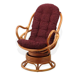 Java Chair Lounge Swivel Rocking Natural Rattan Wicker with Dark Brown Cushion, Cognac