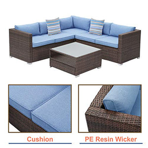 Outdoor Sectional 6-Piece Wicker Sofa Patio Furniture Set in Nature Wood Color w 2 Stripe Pillows, Denim Blue Cushions, Tempered Glass Table, Weatherproof Cover for Backyard