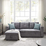 "Reversible Sleeper Sectional Sofa -91"" Reversible Sleeper Sectional Sofa Nailhead with Storage for Living Room Futon Sofa Bed Couches"