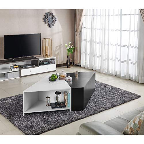 "ioHOMES Melaina Modern Modular Square Coffee Table with Open Shelf Storage with 4 Interchangeable Pieces, 40"", Black and White"