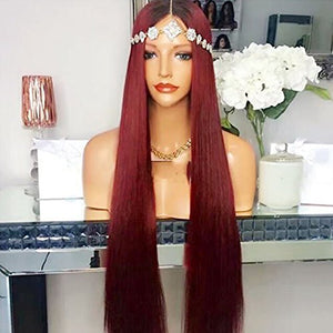 Rossy&Nancy Burgundy Long Wine Red Wig 100% Brazilian Virgin Human Hair Lace Front Wig with Baby Hair Ombre Black Dark Roots Silk Straight Wigs for Black Women