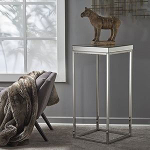 Christopher Knight Home Callia Industrial Mirrored Side Table, Clear / Natural
