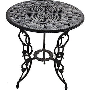 Patio Furniture Outdoor Garden Rose 3-Piece Bistro Set 1 table and 2 chairs aluminum cast-iron legs rose pattern
