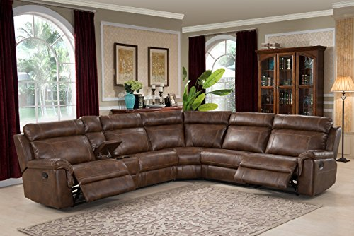Christies Home Living 6-Piece Reclining Living Room Sectional with 3 Recliners Clark, Brown