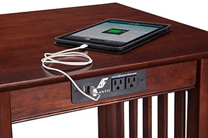 Atlantic Furniture Mission Printer Stand with Charging Station, Walnut
