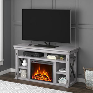 Ameriwood Home Wildwood Fireplace TV Stand, Rustic White