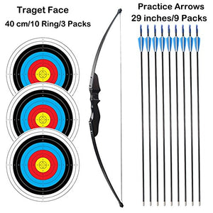 "SinoArt 54"" Long Bow for Right Handed 30 LBs Draw Weight Archery Bow Shooting LARP Hunting Game with 9 Arrows and 3 Target Faces"