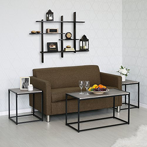 FURINNO Modern Lifestyle Living Room Set, Dark Oak