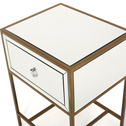 Christopher Knight Home Inka Mirrored One-Drawer Side Table, Clear / Gold / Mirror