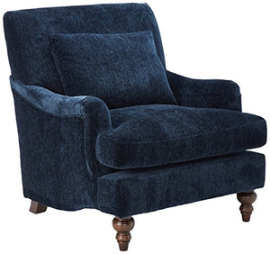 Coaster Home Furnishings Upholstered Accent Chair with Exposed Turned Legs and Attached Back Midnight Blue