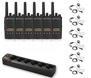 6 Pack of Motorola RMU2080d Radios with 6 Push to Talk (PTT) earpieces and a 6-Bank Radio Charger