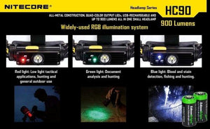 Nitecore HC90 900 Lumen CREE XM-L2 T6 LED USB Rechargeable headlamp with Genuine NL189 18650 3400mAh Li-ion Rechargeable Battery, Two EdisonBright CR123A Lithium Batteries