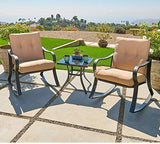 Oakmont Outdoor Furniture 3 Piece Bistro Set Rocking Chairs and Glass Top Table, Thick Cushions, Black Steel (Beige)