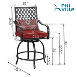 PHI VILLA Patio Swivel Bar Stools with Seat Cushion, Outdoor Extra Wide Bar Height Arms Chairs, 2 Pack