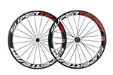 Superteam Carbon Fiber Road Bike Wheels 700C Clincher Wheelset 50mm Matte 23 Width (Red and White Decal)
