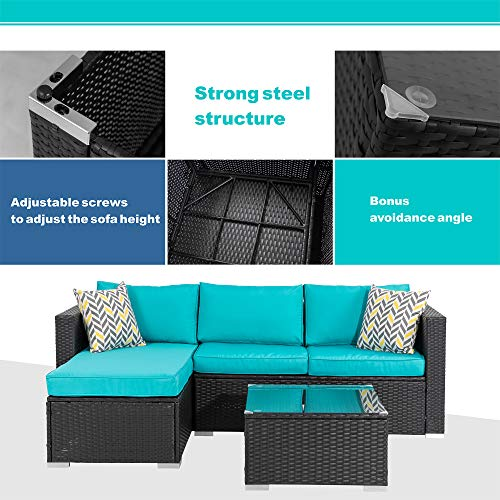 Walsunny 3 Piece Outdoor Furniture Sectional Sofa Patio Set with Upgrade Rattan Wicker Upgrade Wicker(Black Rattan)(Blue)