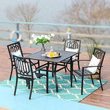 PHI VILLA Outdoor Patio Dining Set with 37 inch Table and 4 Chairs - 5 Piece Black