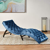 Christopher Knight Home Garret Velvet Chaise Lounge, Cobalt Grey / Dark Brown