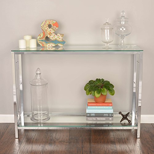 ModHaus Living Contemporary Style Tempered Glass Console Table Square Shaped with 2 Tier Glass Shelves | Metal Legs, Chrome Finish Home Decor - Includes Pen