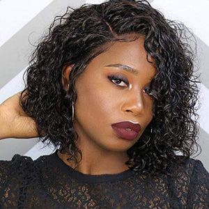 Rossy&Nancy Bouncy Curly 10A Glueless Brazilian Remy Human Hair Lace Front Wigs Pre Plucked Natural Hairline Wig with Baby Hair for Black Women
