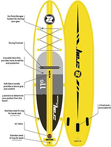 "Z-Ray A4 11'6"" Touring SUP Stand Up Paddle Board Package w/Pump, Paddle, Footrest and Travel Backpack, 6"" Thick"
